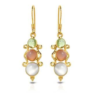 Gold over Silver 6 1/5ct TW Moonstone Earrings