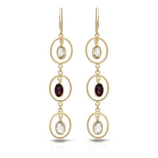 Gold over Silver 7 1/2ct TW Quartz Earrings