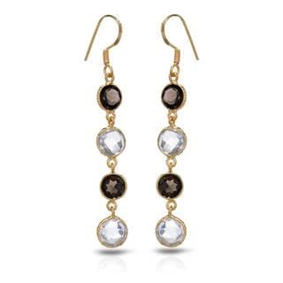 Gold over Silver 10 1/6ct TW Quartz Earrings