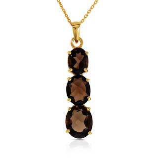 Gold over Silver 6 3/4ct TW Topaz 3-stone Necklace