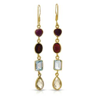 Gold over Silver 13 1/4ct TW Garnet Earrings