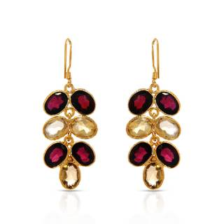 Gold over Silver 18 3/4ct TW Garnet Earrings