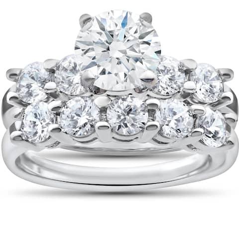 14k White Gold 2 1/2ct TDW Diamond Clarity Enhanced Five Stone Wedding & Engagement Ring Set