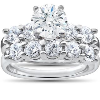 14k White Gold 2 1/2ct TDW Diamond Clarity Enhanced Five Stone Wedding & Engagement Ring Set|https://ak1.ostkcdn.com/images/products/12202634/P19049783.jpg?impolicy=medium
