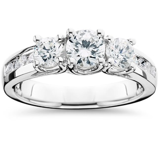 14k White Gold 1 3/4ct TDW 3-Stone Diamond Engagement Ring