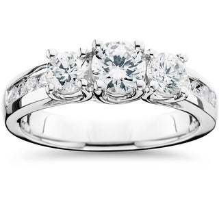 14k White Gold 1 3/4ct TDW 3-Stone Diamond Engagement Ring