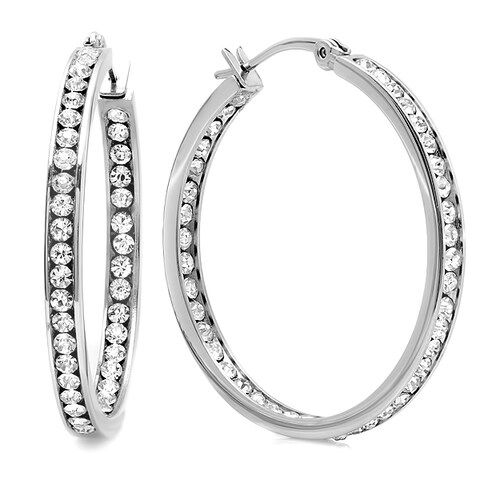 Piatella Stainless Steel Cubic Zirconia In and Out Hoops in 2 Colors