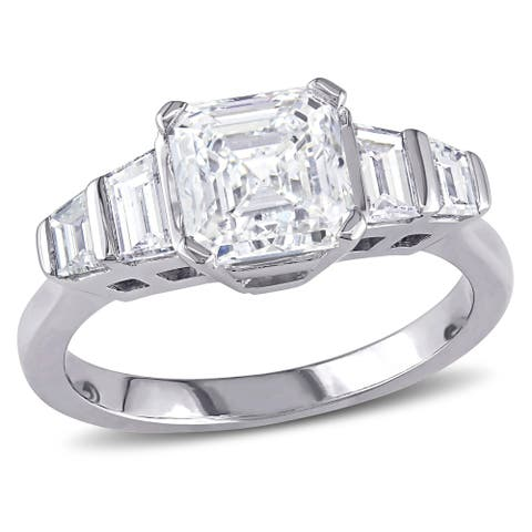 Miadora Signature Collection 18k White Gold 2ct TDW Certified Asscher and Trapezoid-cut Diamond Five-Stone Ring (E, SI1) (IGI)