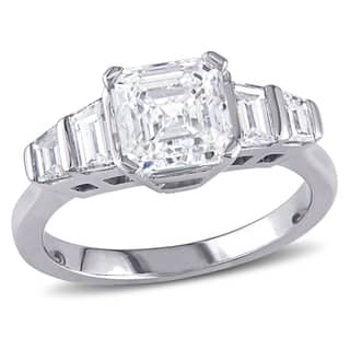 Miadora Signature Collection 18k White Gold 2ct TDW Certified Asscher and Trapezoid-cut Diamond Five-Stone Ring (E, SI1) (IGI)|https://ak1.ostkcdn.com/images/products/12202741/P19049881.jpg?impolicy=medium