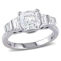 Miadora Signature Collection 18k White Gold 2ct TDW Certified Asscher and Trapezoid-cut Diamond Five-Stone Ring (E, SI1) (IGI)