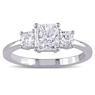 Miadora Signature Collection 18k White Gold 1 1/8ct TDW Certified 3-Stone Radiant Shape Diamond Engagement Ring (G-H, I1) (IGI)