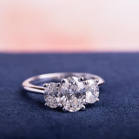 Miadora Signature Collection 18k White Gold 1 1/2ct TDW Certified 3-Stone Oval Shape Diamond Engagement Ring (H-I, SI2-I1) (IGI)