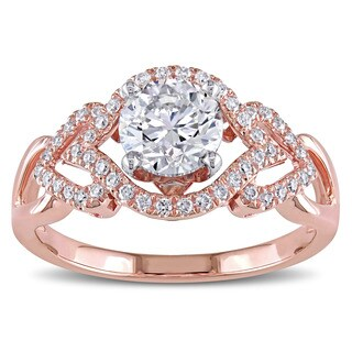Miadora Signature Collection 14k Rose Gold 1 1/5 ct TDW Certified Diamond Heart Motif Engagement Ring (M, VS1) (GIA)
