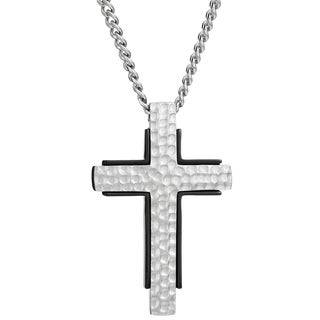 Stainless Steel Men's Hammered Texture Cross Pendant