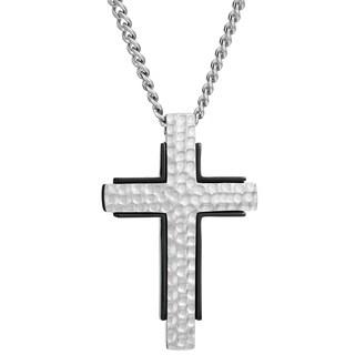 Stainless Steel Men's Hammered Texture Cross Pendant