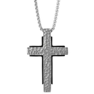 Stainless Steel Diamond Accent Hammered Cross Pendant (H-I, I2-I3)