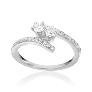 Andrew Charles 14k White Gold 1/2ct TDW Diamond Two-Stone Ring