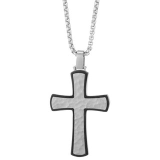 Stainless Steel Hammered Texture Cross Pendant