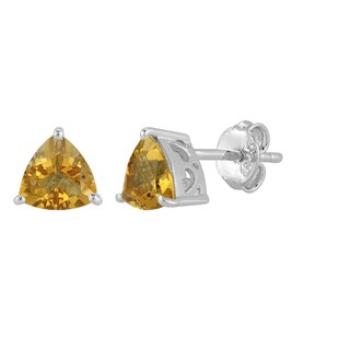 Sterling Silver Trillion Citrine Stud Earrings
