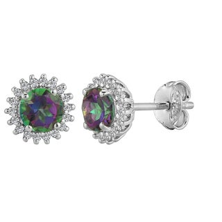 AALILLY Sterling Silver Round Mystic Topaz and White Topaz Stud Earrings