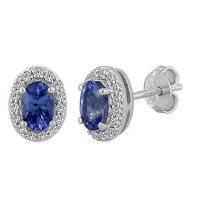 AALILLY Sterling Silver Oval Tanzanite and White Topaz Stud Earrings
