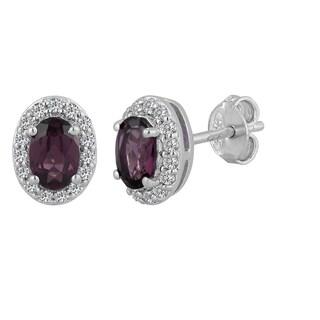 Sterling Silver Oval Rhodolite Garnet and White Topaz Stud Earrings