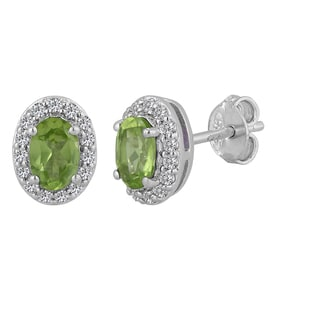 Sterling Silver Oval Peridot and White Topaz Stud Earrings