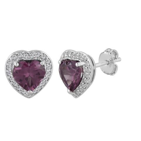 AALILLY Sterling Silver Heart Rhodolite Garnet and White Topaz Stud Earrings