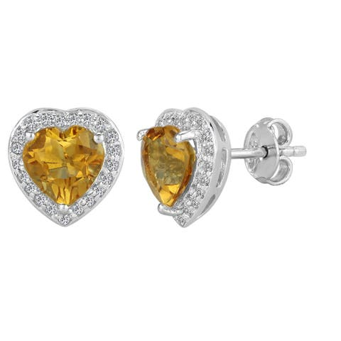 AALILLY Sterling Silver Heart Citrine and White Topaz Stud Earrings