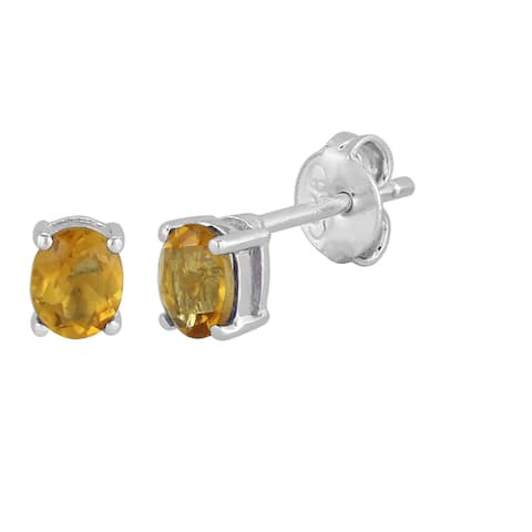 AALILLY Sterling Silver Oval Citrine Stud Earrings