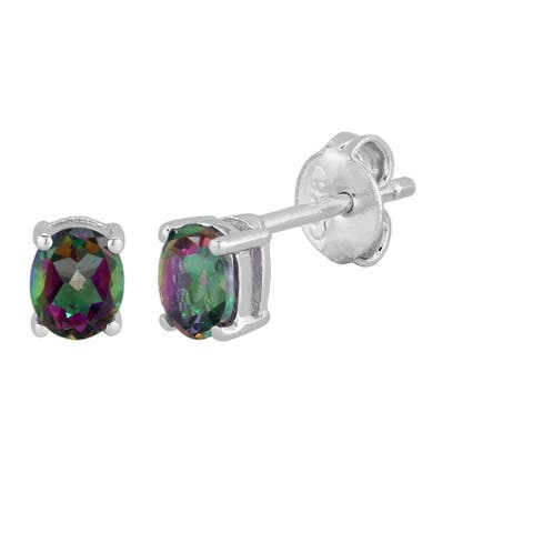 AALILLY Sterling Silver Oval Mystic Topaz Stud Earrings