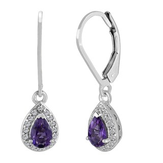 AALILLY Sterling Silver Pear Amethyst and White Topaz Dangling Earrings