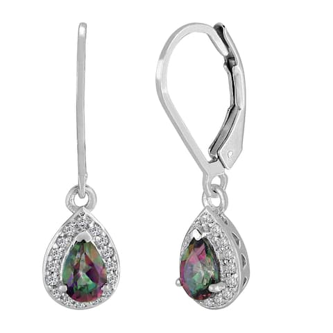 Sterling Silver Pear Mystic Topaz and White Topaz Dangling Earrings