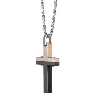 Stainless Steel Two-tone Cross Pendant