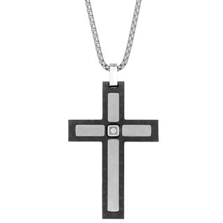 Stainless Steel and Carbon Fiber Cubic Zirconia Cross Pendant