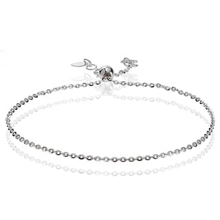 Mondevio 14k White Gold 1.4mm Diamond-Cut Cable Adjustable Italian Chain Bracelet, 7-9 Inches