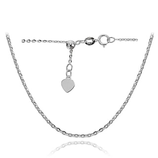 Mondevio 14k White Gold 1.4mm Diamond-Cut Cable Adjustable Italian Chain Anklet, 9-11 Inches