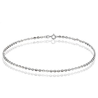 Mondevio 14k White Gold 1.4 Diamond-Cut Cable Italian Chain Anklet, 9 Inches