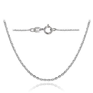 Mondevio 14k White Gold 1.4 Diamond-Cut Cable Italian Chain Necklace, 16 Inches