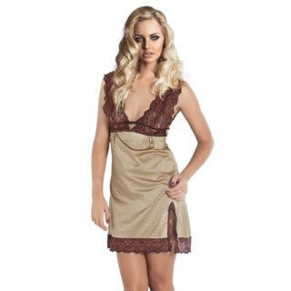 Miorre Sexy Gold Satin Chemise with Brown Lace Straps and Top