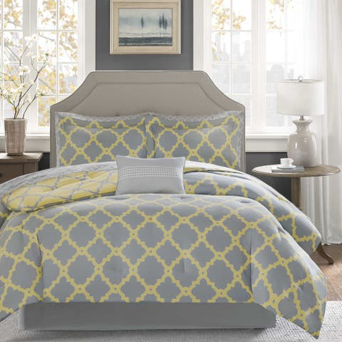 Madison Park Essentials Concord Grey/ Yellow Reversible Complete Comforter and Cotton Sheet Set
