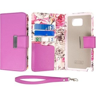 Samsung Galaxy Note 5 Klix Klutch Designer Pink Microfiber Wallet/Credit Card Phone Case