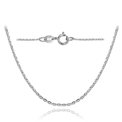 Mondevio 14k White Gold 1.4 Diamond-Cut Cable Italian Chain Necklace, 18 Inches