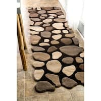 nuLOOM Hand-carved Stones and Pebbles Wool Runner Rug (2'6 x 12')
