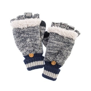 Muk Luks Men's Acrylic/ Polyester Faux Sherpa Marl Sock Flip Mittens