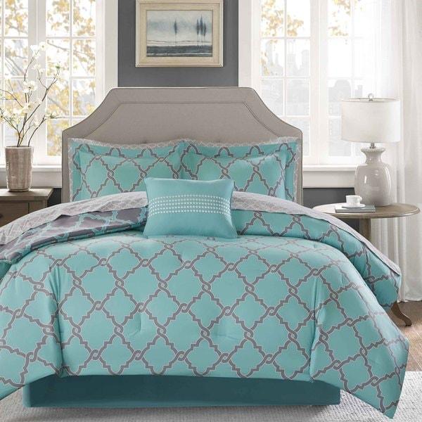 Madison Park Essentials Concord Aqua/ Grey Reversible Complete Comforter and Cotton Sheet Set