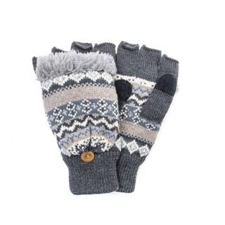 Muk Luks Men's Polyester/ Acrylic Fairisle Flip Mittens
