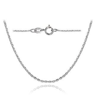 Mondevio 14K White Gold 1.4 Diamond-Cut Cable Italian Chain Necklace, 24 Inches