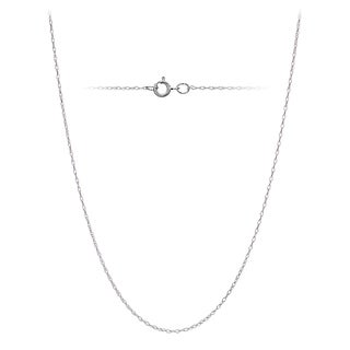 Mondevio 14k White Gold .7mm Rope Chain Necklace, 16 Inches