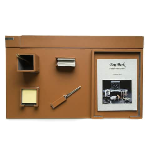 Bey Berk Talon Brown Leather 6-piece Desk Set